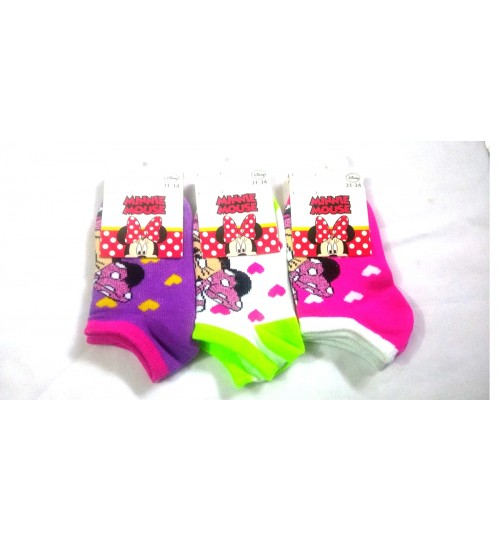 Three Pack Minnie Mouse Trainer Socks