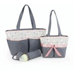 Colorland Amber Tote Brown Changing Bag 5 Piece, Pink Square