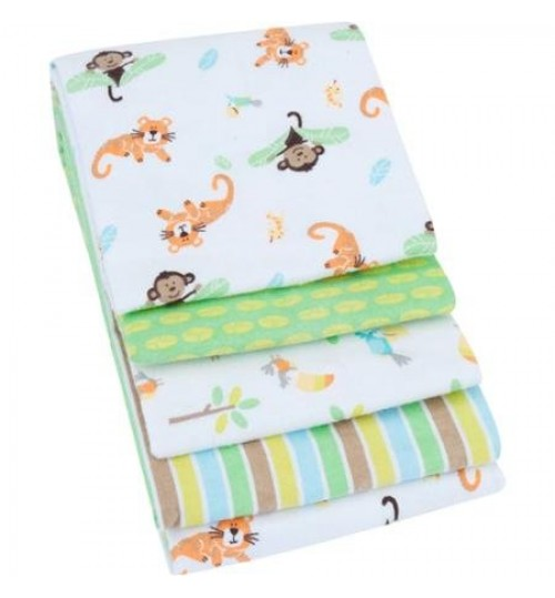 Garanimals Cotton Flannel Receiving Blankets, Set of 4, Unisex