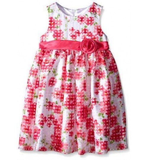American Princess Big Girls' Floral Shantung Dress
