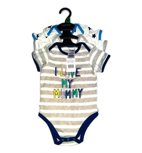 Boy's 3 Piece I Love Mummy Bodysuits
