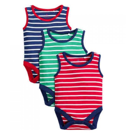 Next Boys Multi Stripe Sleeveless Bodysuits