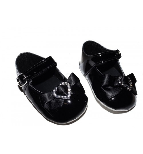 Mabini Baby Girls Black Shoes With Small Love Hearts  Design