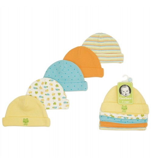 Gerber Unisex-Baby Newborn 5 Pack Caps - Animals