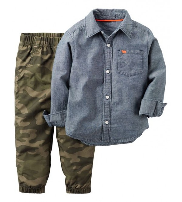 2-Piece Chambray Shirt & Jogger Set
