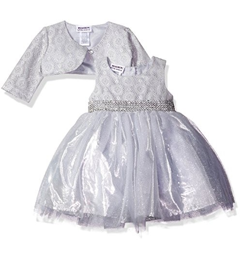 Blueberi Boulevard Baby Girls' Sparkle Jacket Dress, Silver
