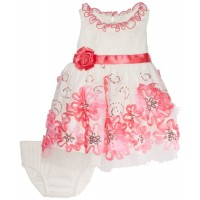 Bonnie Baby-Girls Newborn Mesh and Sequin Dress