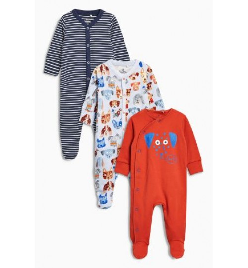 Next Bright dogs 3 sleepsuits