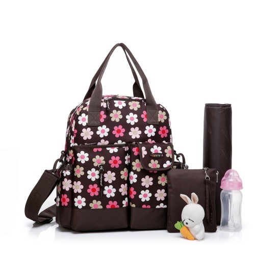 Colorland 4 Way Diaper Bag, Pink Flowers