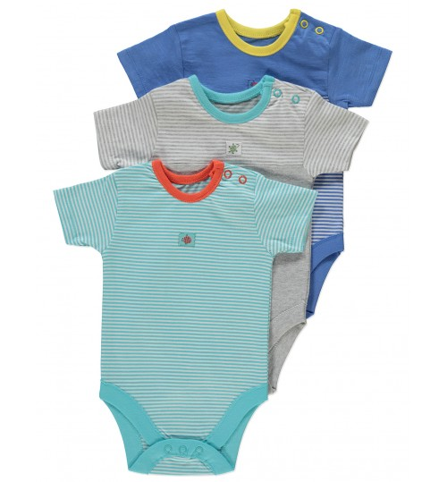 George 3 Pack Striped Bodysuits