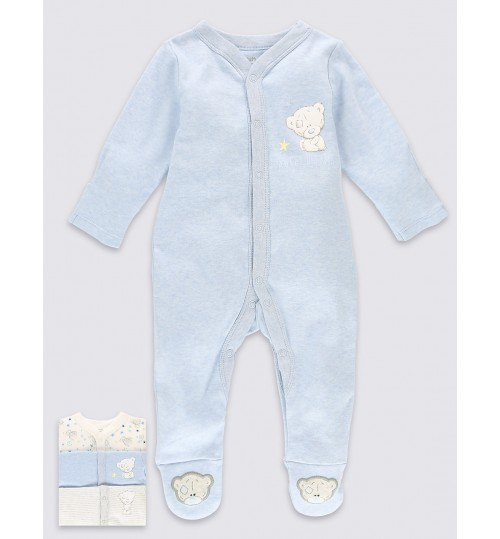 Marks and Spencer Tiny Tatty Teddy 3 Pack Pure Cotton Sleepsuits