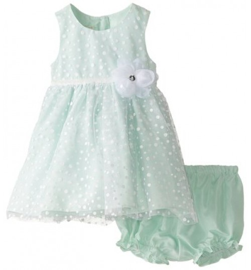 Marmellata Baby Girls' Mint Sparkle Dot Dress