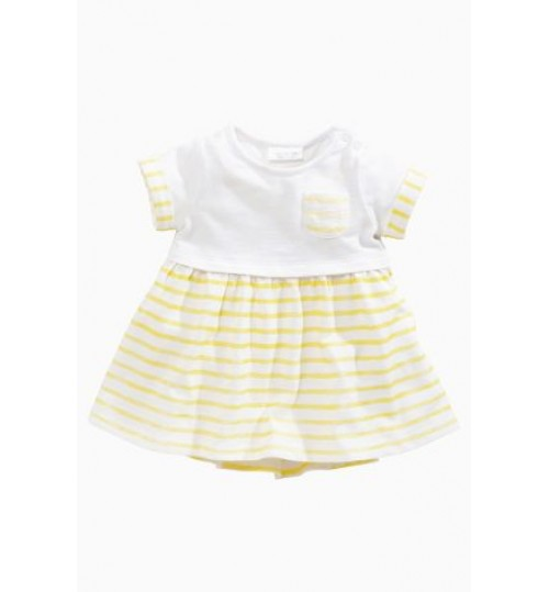 Next Yellow Stripe Pocket Dress