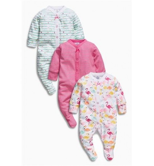 Next 3 Pack Pink Flamingo Sleepsuits