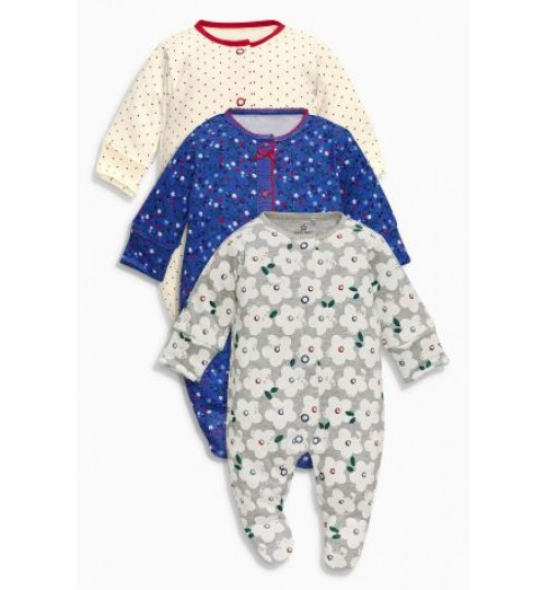 Next Three Pack Navy Floral Sleeepsuits