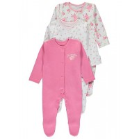 3 Pack Floral Sleepsuits