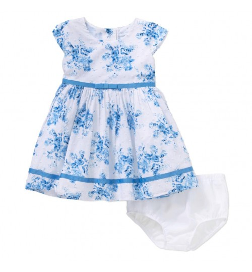 George Infant Girls Blue & White Holiday Dress