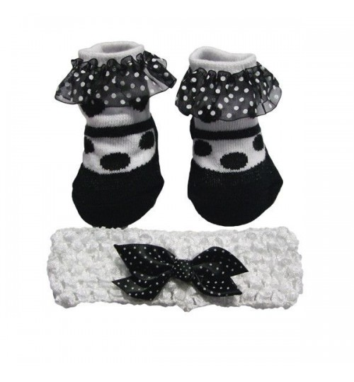 Black & White Polka Dot Sock & Headband Set