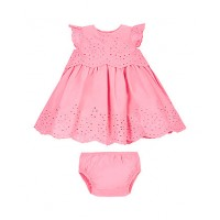 Mothercare Baby Girls Pink Broderie Dress and Knicker Set