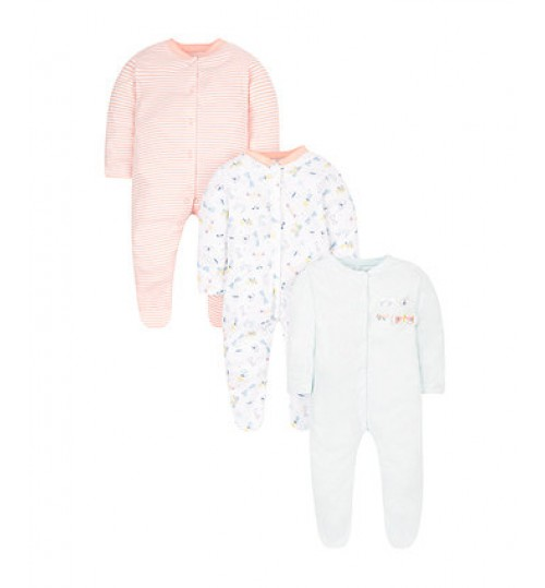 Mothercare Butterfly Sleepsuits - 3 Pack