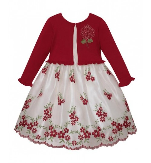 American Princess Holiday Red A-Line Dress & Cardigan