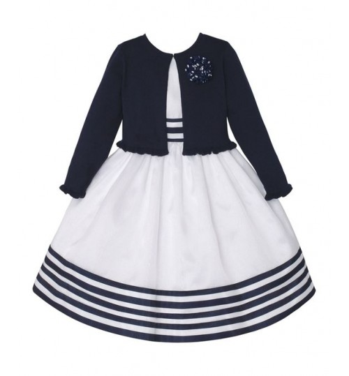 American princess Navy Rosette Ruffle Cardigan & White Stripe A-Line Dress