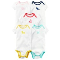 Carter's 5-Pack Short-Sleeve Bodysuits,white and pink