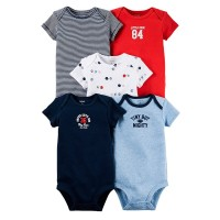 Carter's 5 Pack Original Bodysuits, Red and Blue