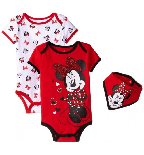 Disney Girls Minnie Mouse Three-Piece Bodysuit And Bib Set