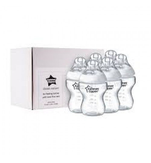 Tommee Tippee Feeding Bottles Slow Flow Teat 260ML 0+ (Pack of 6)