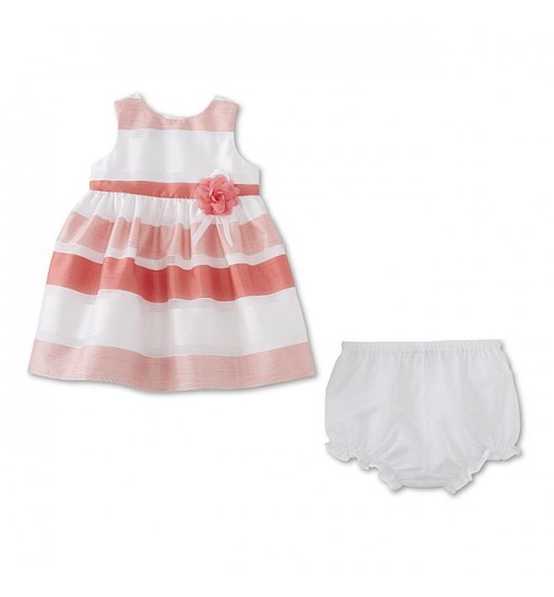 Holiday Editions Newborn Girls' Occasion Dress & Diaper Cover - Shadow Striped