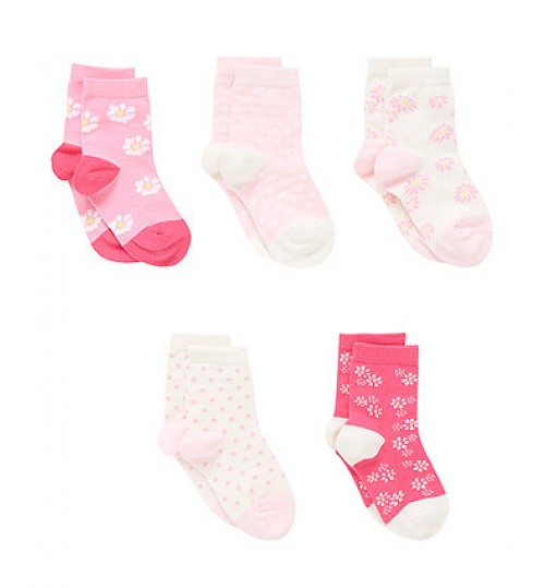 Mothercare Daisy Floral Socks with Aegis - 5 Pack