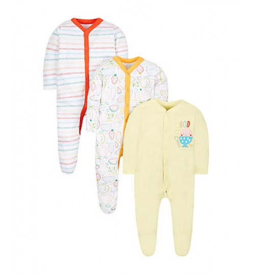 Mothercare Food Sleepsuits -3 Pack