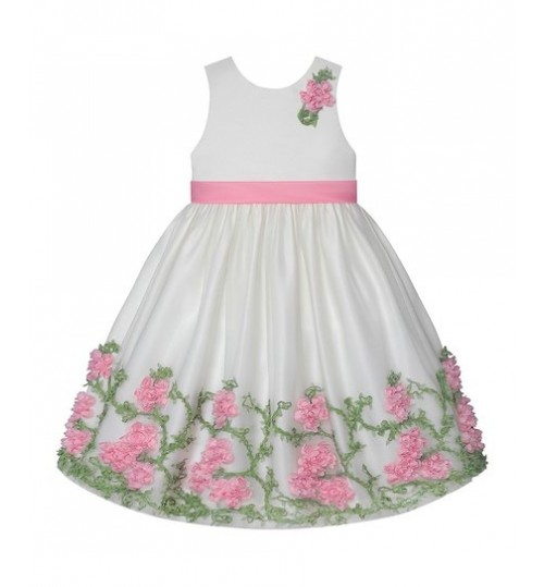American Princess Ivory & Pink Floral A-Line Dress