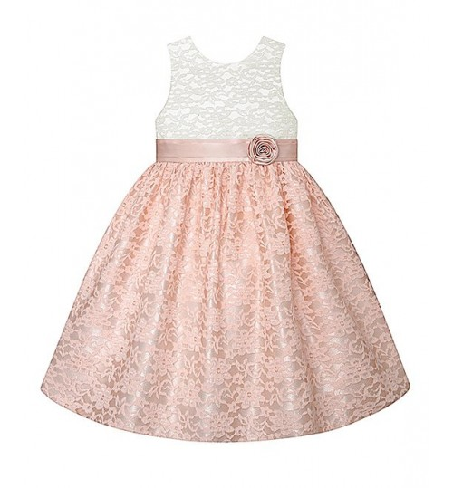 American Princess Ivory & Peach Floral Lace A-Line Dress