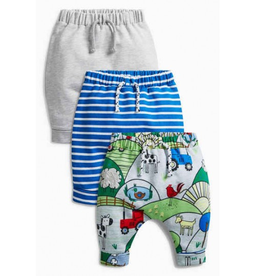 Next Boys Multi Printed Joggers Three Pack