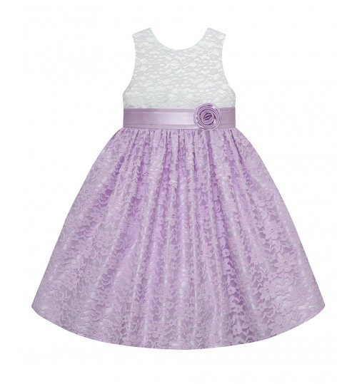 American princess White & Lilac Floral Lace A-Line Dress