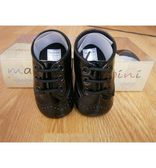 Mabini Baby Boys Black Shoes With Lace Design