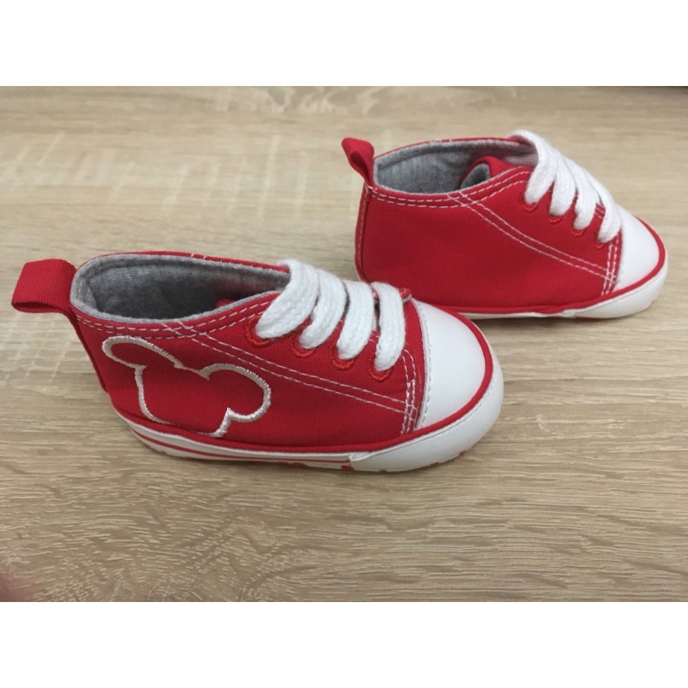 Next Red And White Mickey Mouse Canvas Pram Shoes