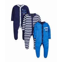 Mothercare Baby Newborn Boy's Mummy and Daddy Sleepsuits -3 Pack Catalogue Number