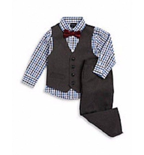 Nautica Little Boys' Grey 4 Piece Vest Suit Set