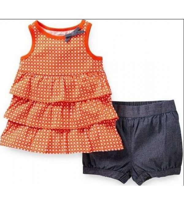 Carters Orange Dot Tiered Tunic Chambray Bubble Shorts Set Baby