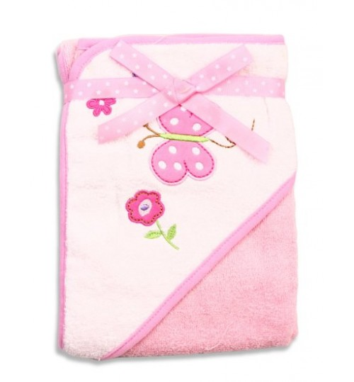 Spasilk Hooded Terry Bath Towel, Pink