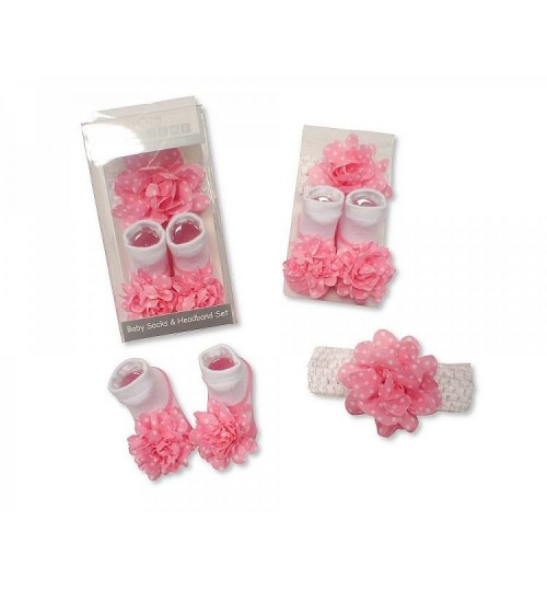 Pink & White Polka Dot Sock & Headband Set