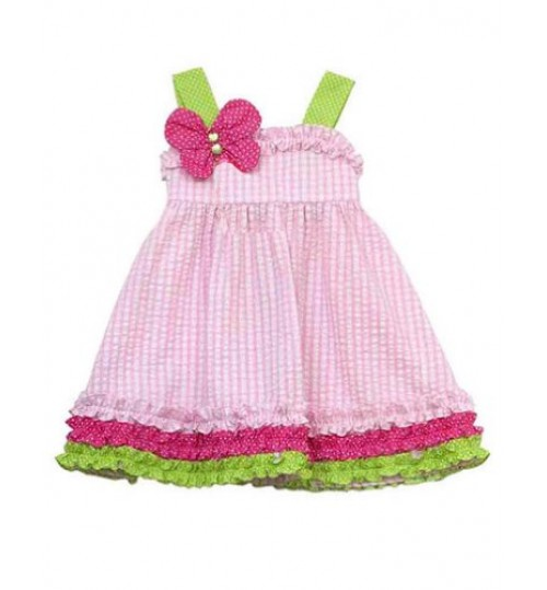 Rare Editions Pink Lime Jewel Butterfly Dress