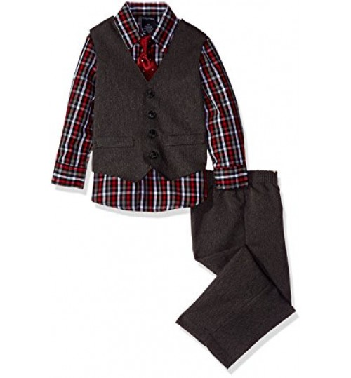 Nautica Boys' Four-Piece Heather Herringbone Vest Set