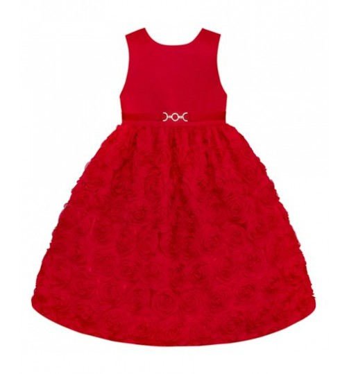 American Princess Holiday Red Rosette A-Line Dress - Girls