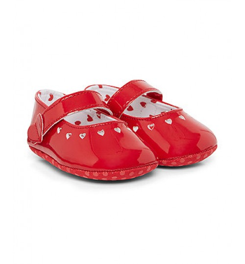 Mothercare Patent Heart Punch Out Shoes