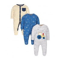 Mothercare Little Farmer Sleepsuits - 3 Pack