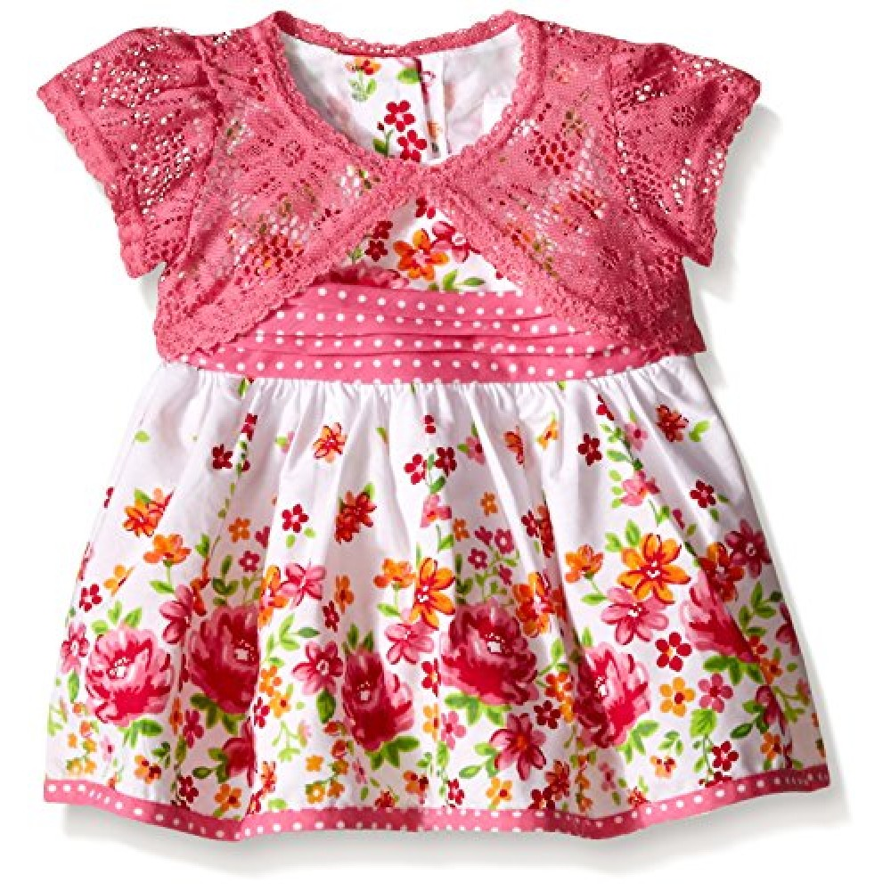 Youngland Baby Girls' Floral Print Dress with Crochet Lace Cardigan